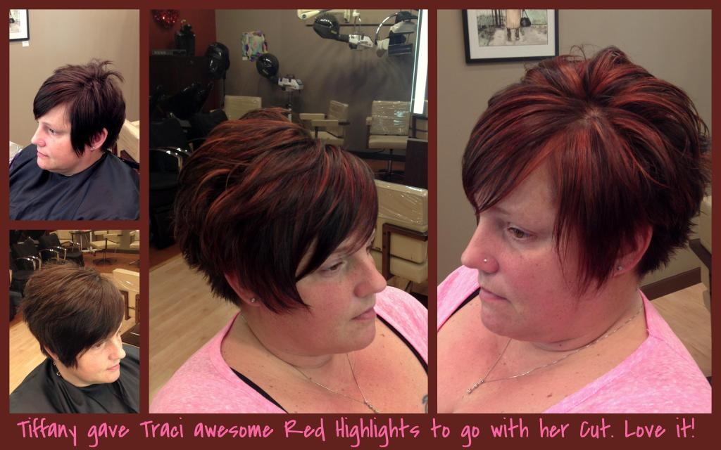 red hair, highlights, color, women's cut, Tiffany, Gel Salon, Hair